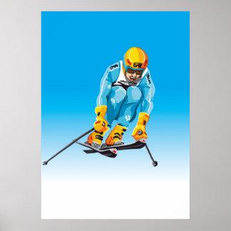 Poster Downhill Skier Jumping Winter Sport