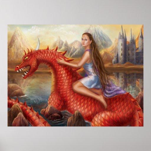 "Poster ""dragón rojo """