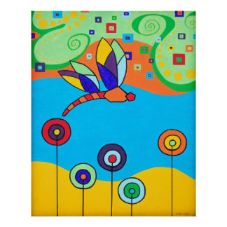 Poster: Dragonfly and Lollipop Flowers