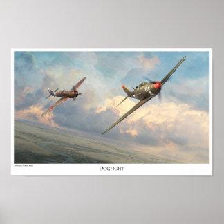 """Poster """"duelo """" del arte de la aviación"""