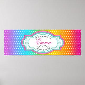 Poster dulce de la bandera del Shoppe del caramelo