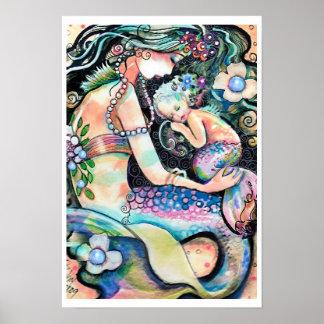 Poster durmiente del ARTE de la sirena de la mamá