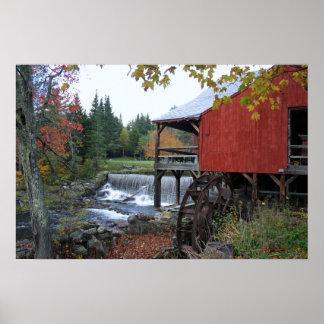 Poster e impresión viejos de Vermont del molino