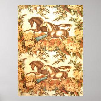 Poster ecuestre del caballo del vintage