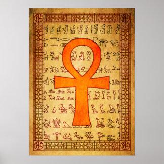 Poster egipcio - cruz de Ankh