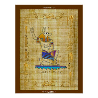 "Poster egipcio del arte del papiro de dios ""ANUBIS"