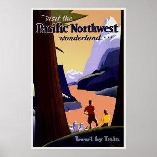 Poster el Pacífico del viaje del vintage del noroe