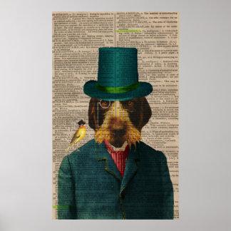 Poster el señalar Wirehaired Griffon del vintage Póster