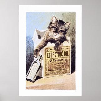 Poster eléctrico del gato del aceite