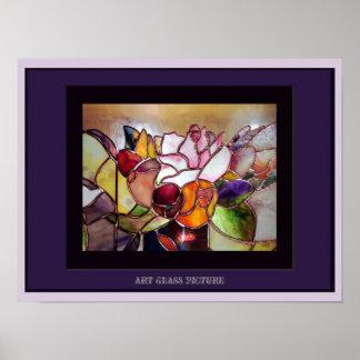 Poster elegante de cristal de la flor de la tabla