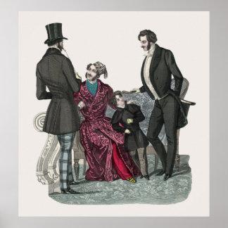Poster elegante de los caballeros de Biedermeier