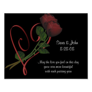 Poster elegante del boda o del aniversario del cor