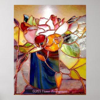 Poster elegante del centro de flores del vitral