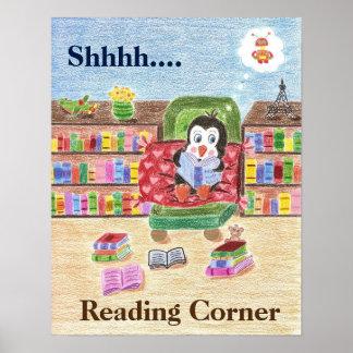 Poster elegante del pingüino de la lectura