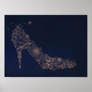 Poster elegante/impresión del ~ del zapato