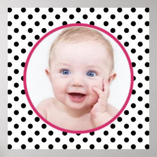 Poster elegante personalizado de la foto del bebé