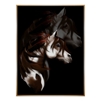 Poster emplumado del caballo de la pintura