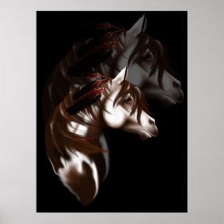 Poster emplumado sombreado del caballo