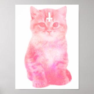 Poster en colores pastel cruzado invertido del gat