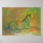 Poster en colores pastel del retrato del caballo