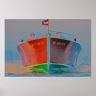 Poster En-De madera del barco que viene