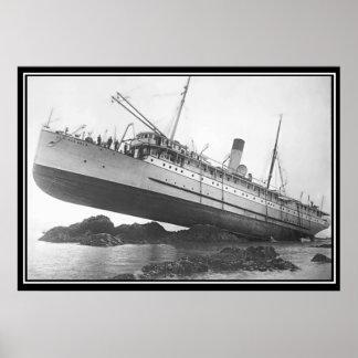 Poster encallado funcionado con nave de la foto póster