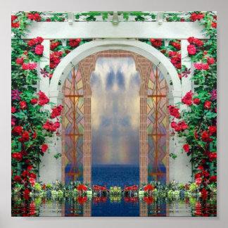Poster encantado del jardín de rosas