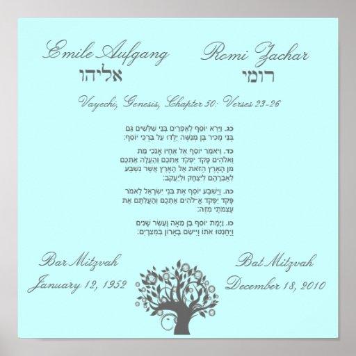 Poster enmarcado del regalo del arte de Mitzvah de