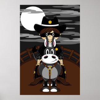 Poster enmascarado del vaquero y del caballo