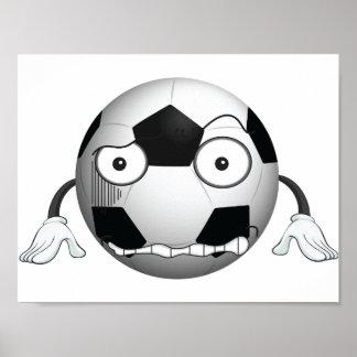 Poster enojado del balón de fútbol