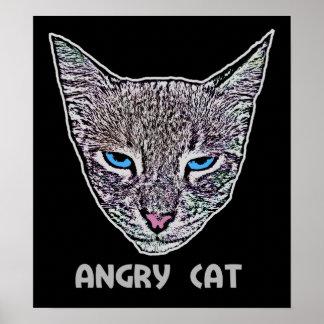 Poster enojado del gato