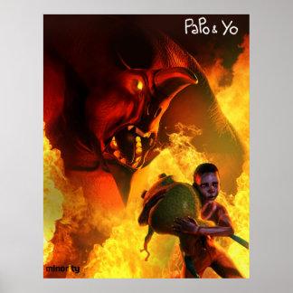 Poster enojado del monstruo de Papo y de Yo