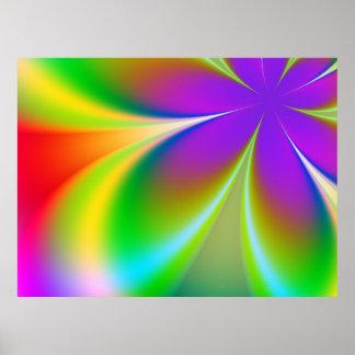 Poster enrrollado del fractal del flower power