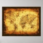 Poster entonado de oro del mapa de Viejo Mundo