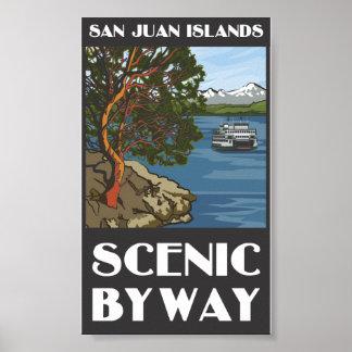Poster escénico del camino apartado de las islas d
