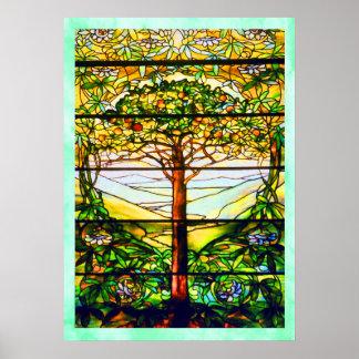 Poster escénico espiritual de la ventana de Tiffan