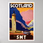 Poster escocés del viaje del autobús del vintage