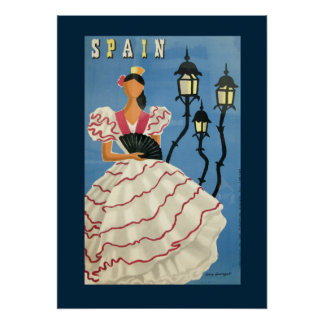 Poster español del bailarín del vintage