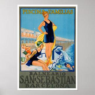 Poster español del centro turístico del vintage