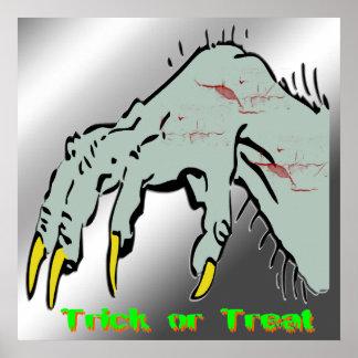 Poster espeluznante de la mano de Halloween