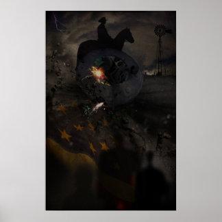 Poster espeluznante del desplome del UFO