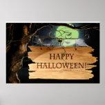 Poster espeluznante viejo del feliz Halloween