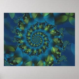 Poster espiral azul y verde del fractal póster