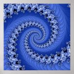 Poster espiral doble azul del fractal