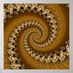 Poster espiral doble de oro del fractal