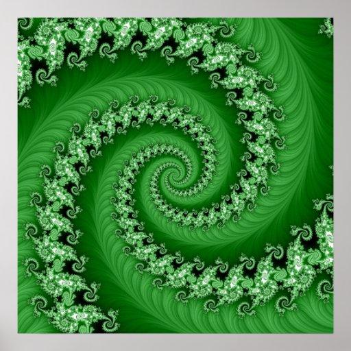 Poster espiral doble verde del fractal