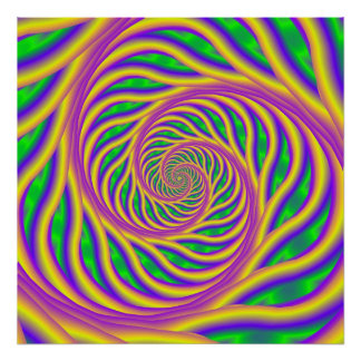 Poster espiral rosado y amarillo verde