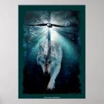 Poster espiritual del arte del lobo y de la fauna