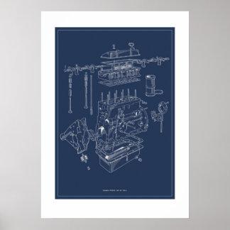 Poster esquemático del motor de Triumph TR4A -