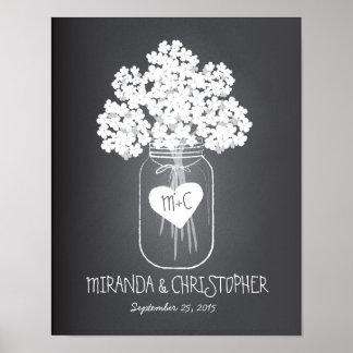 Poster establecido familia de la boda del tarro de